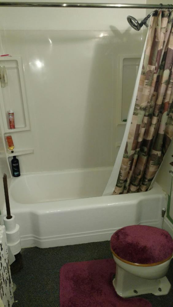 We removed the existing cast iron tub and fiberglass wall surround. Re-Bath  Lancaster, PA renovation