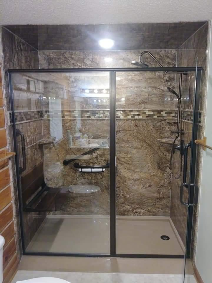 After Re-Bath  Chattanooga, TN renovation with TAHOE GRANITE WALL SURROUNDS