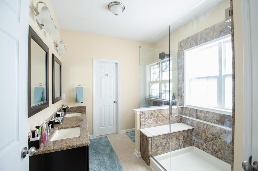 raleigh bathroom remodel, bathroom remodel, before and after bathroom remodel, re-bath remodel, tub to shower combo, tub replacement, interior design, complete bathroom remodel, north carolina bathroom remodeler, durham bathroom remodel, cary bathroom remodel, chapel hill bathroom remodel - walk in shower remodel - ada shower - universal design bathroom - universal design shower - walk in shower with sliding glass doors - low threshold shower - complete bathroom remodel