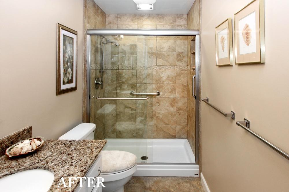 After Re-Bath  Bay Area, CA renovation took the bland and boring bathroom and transformed it into a spa featuring a large walk in shower in stone, a granite counter top and updated flooring.
