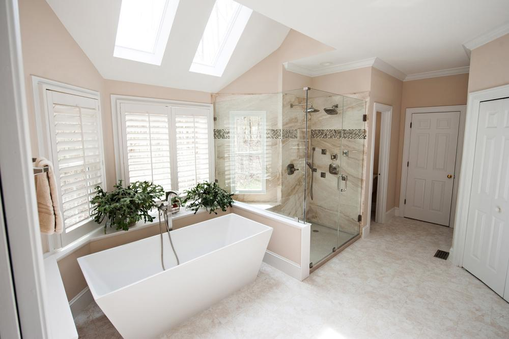 After Re-Bath  Myrtle Beach, SC renovation with Garden tub replaced with freestanding tub, and tacky shower stall replaced with state of the art natural stone shower