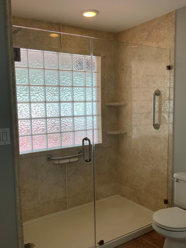 Sonoran Granite Walls.  Shampoo shelf Grab Bar.